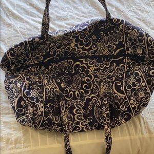 Large navy blue Vera Bradley travel duffel bag